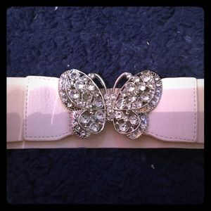 Cream colored belt with Butterfly jewel center